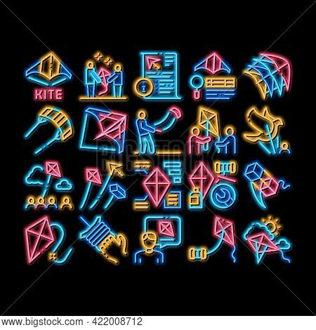 Kite Flying Air Toy Neon Light Sign Vector. Glowing Bright Icon Kite Wind Tool In Different Form, In