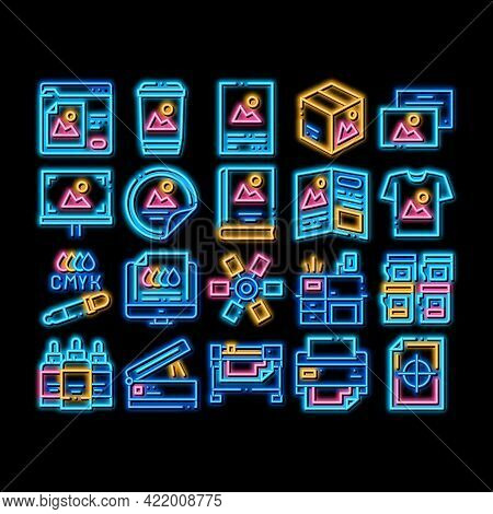 Polygraphy Printing Service Neon Light Sign Vector. Glowing Bright Icon Polygraphy And Scanner Equip