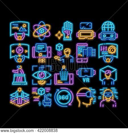 Simulation Equipment Neon Light Sign Vector. Glowing Bright Icon Virtual Reality Vr Glasses And Simu