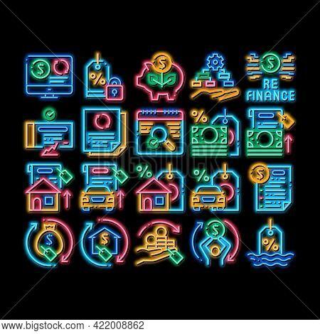 Refinance Financial Neon Light Sign Vector. Glowing Bright Icon Mortgage And Credit Car, Debt Obliga