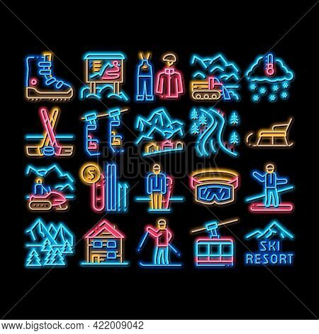 Ski Resort Vacation Neon Light Sign Vector. Glowing Bright Icon Ski Snow Track And Shoe, Protective