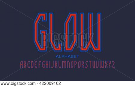 Glow Alphabet Of Red Blue Luminous Letters. Urban Display Font. Isolated English Alphabet.
