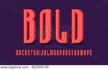Bold Alphabet Of Red 3d Letters. Volumetric Display Font. Isolated English Alphabet.