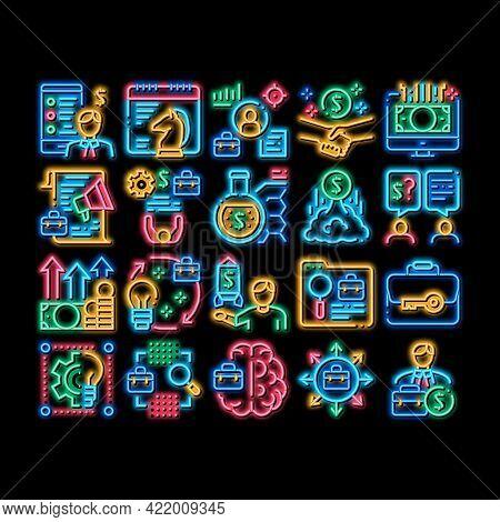 Entrepreneur Business Neon Light Sign Vector. Glowing Bright Icon Entrepreneur Businessman And Agree