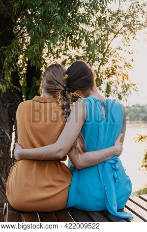 Female Friendship Femininity, Diverse, Support, Partnership, Girlfriend Concept. Two Girls Blonde, B