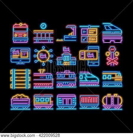 Train Rail Transport Neon Light Sign Vector. Glowing Bright Icon Electrical Passenger And Freight Tr