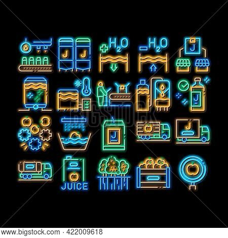 Juice Production Plant Neon Light Sign Vector. Glowing Bright Icon Juice Package And Bottle, Fruit I