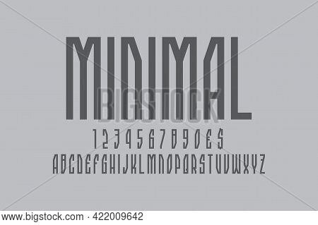 Minimal Artistic Display Font. Gray Angular Letters, Numbers And Currency Signs. Isolated English Al