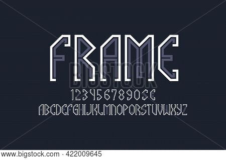 Frame Artistic Display Font. Gray White Angular Letters, Numbers And Currency Signs. Isolated Englis