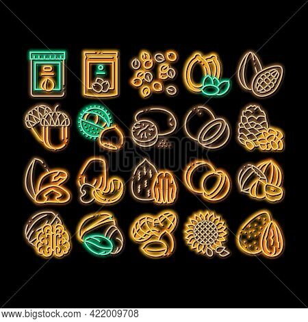 Nut Food Different Neon Light Sign Vector. Glowing Bright Icon Peanut And Almond, Chestnut And Macad