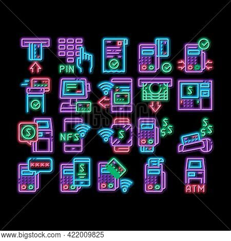 Pos Terminal Device Neon Light Sign Vector. Glowing Bright Icon Bank Terminal And Atm, Smartphone Nf