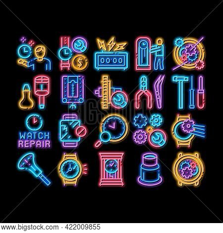Watch Repair Service Neon Light Sign Vector. Glowing Bright Icon Watch Change Display Glass And Mech