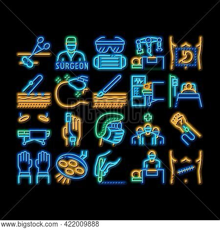 Surgeon Medical Doctor Neon Light Sign Vector. Glowing Bright Icon Surgeon Facial Mask And Glasses,