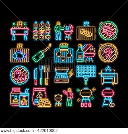 Bbq Barbecue Cooking Neon Light Sign Vector. Glowing Bright Icon Bbq Fried Meat And Shrimp, Fish And