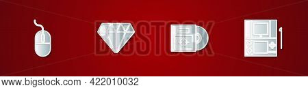 Set Computer Mouse, Diamond, Cd Or Dvd Disk In Box And Portable Video Game Console Icon. Vector