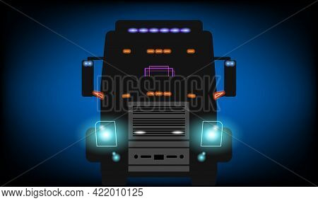 Big Truck With Glowing Headlights And Lens Flare On The Dark Night Road. Front View. Vector Illustra