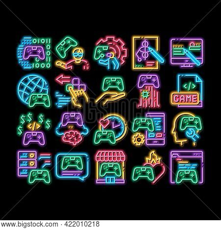 Video Game Development Neon Light Sign Vector. Glowing Bright Icon Game Development, Coding And Desi