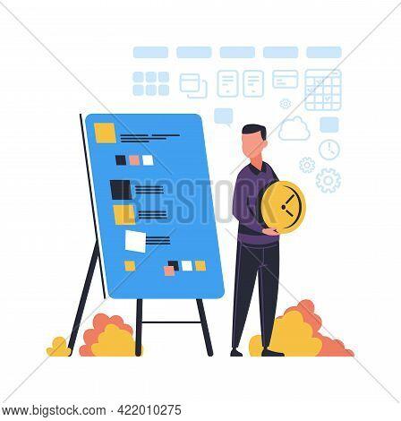 Time Management. Cartoon Man Effective Organizes Workflow. Timetable Planning. Worker Schedules Appo