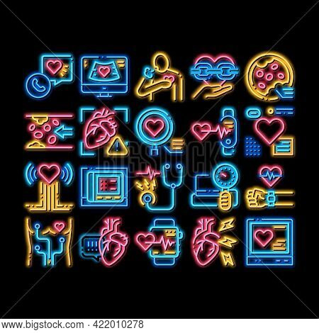 Hypertension Disease Neon Light Sign Vector. Glowing Bright Icon Hypertension Ill And Treatment, Hea