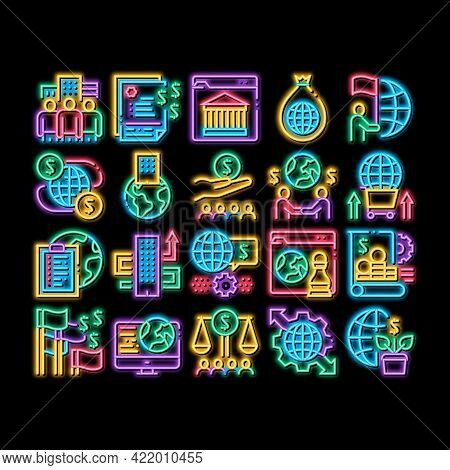 Global Business Finance Strategy Neon Light Sign Vector. Glowing Bright Icon International And World