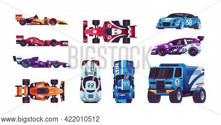 Race Cars. Cartoon Automobiles. Racing Trucks And Bolides. High-speed Transport. Top And Side Views