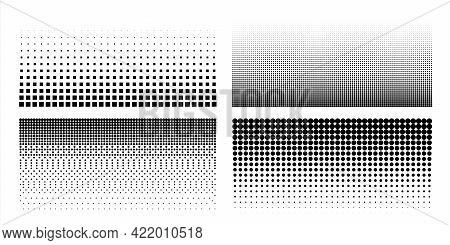 Halftone Dot Pattern. Comic Pop Art Textures. Black And White Geometric Half Tone Templates Set. Per
