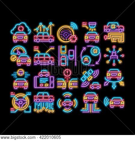 Smart Car Technology Neon Light Sign Vector. Glowing Bright Icon Smart Car Autopilot And Help Parkin