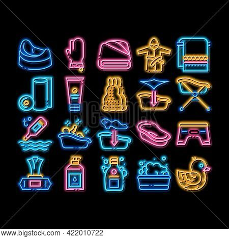 Bathing Baby Tool Neon Light Sign Vector. Glowing Bright Icon Towel And Bathrobe, Bath Thermometer A