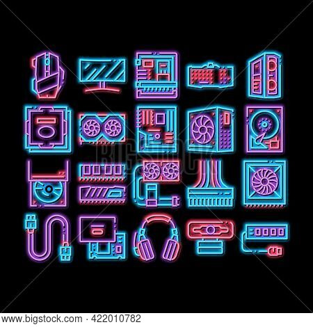 Computer Technology Neon Light Sign Vector. Glowing Bright Icon Computer Mouse And Keyboard, Monitor