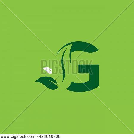 Letter G Green Leaf Logo Design Element, Letter G Leaf Initial Logo Template