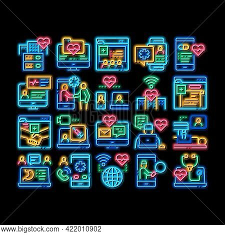 Telemedicine Treatment Neon Light Sign Vector. Glowing Bright Icon Patient Online Medical Exam And T