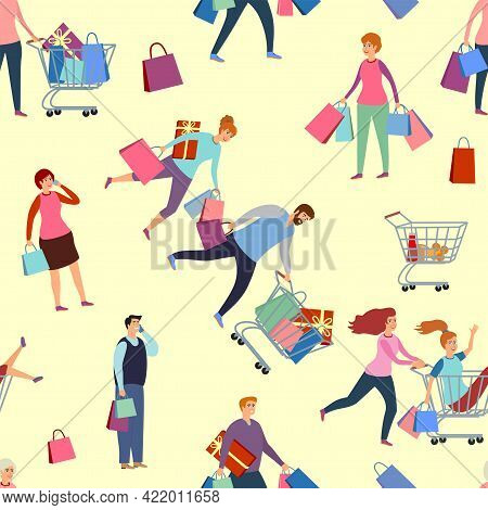 Seamless Pattern With People On Shopping. Seamless Pattern Black Friday. Happy People Rush Shopping.