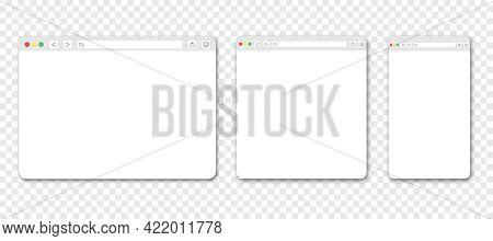 Set Of Web Browser Windows. Blank Template. Website Template Design. Mockup For Web Site Design. Vec