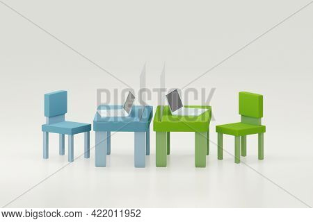 Office Working Table With Laptop And Partition Shield For Social Distancing, 3d Illustration.