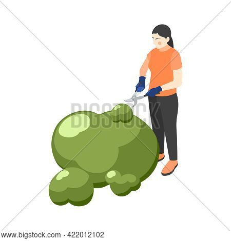 Gardening Isometric Icon With Woman Cutting Bush With Pruning Shears 3d Vector Illustration