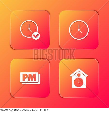 Set Clock, , Pm And Retro Wall Watch Icon. Vector