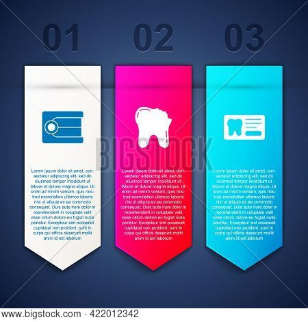 Set Dentures Model, Broken Tooth And Dental Card. Business Infographic Template. Vector