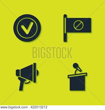 Set Check Mark In Round, Stage Stand Or Tribune, Megaphone And Protest Icon. Vector