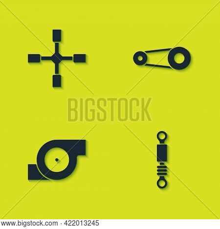 Set Wheel Wrench, Shock Absorber, Automotive Turbocharger And Timing Belt Kit Icon. Vector