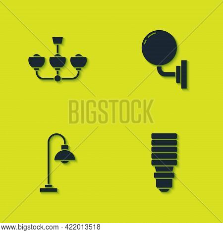 Set Chandelier, Led Light Bulb, Floor Lamp And Wall Sconce Icon. Vector