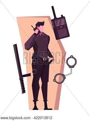 Security Service Composition With Flat Character Of Bodyguard Cuffs Portable Transmitter Vector Illu