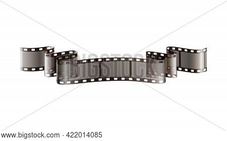 Realistic Twisted Film Strip On White Background Vector Illustration