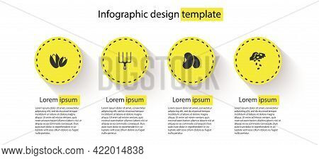 Set Pistachio Nuts, Garden Pitchfork, Beans And Seed. Business Infographic Template. Vector