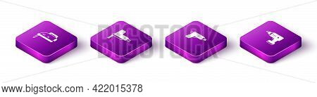 Set Isometric Electric Jigsaw, , Cordless Screwdriver And Icon. Vector