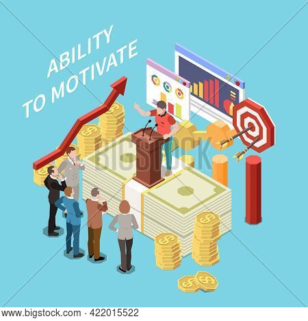 Entrepreneur People Concept Isometric Composition With Ability To Motivate Symbols Vector Illustrati