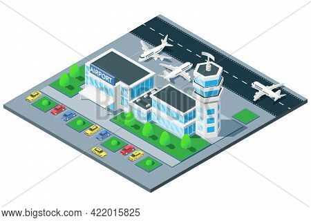 Airport Terminal Birds Eye View Isometric Composition With Traffic Control Tower Airplane Takeoff On