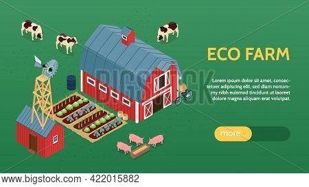 Ecological Organic Farming Online Eco Farm Isometric Website Banner With Barn Windmill Livestock Veg