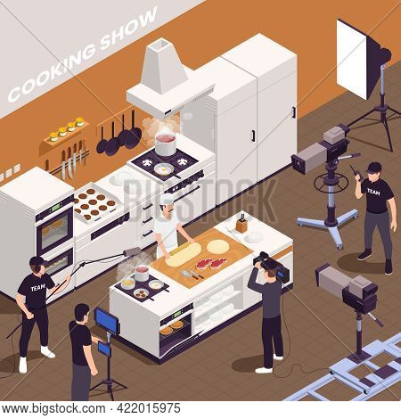 Tv Show Isometric Background With Cooking Show Symbols Vector Illustration