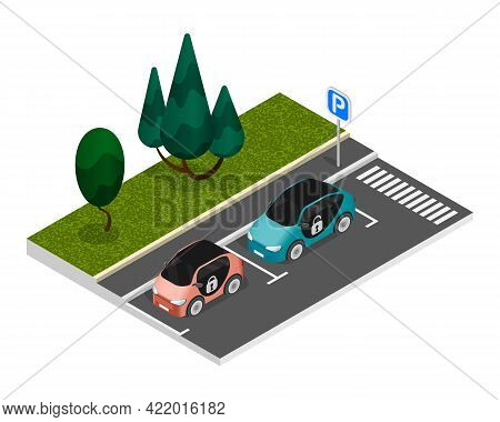 Isometric Colored Parking Composition With Two Properly Parked Cars Standing On The Roadside In A Pa