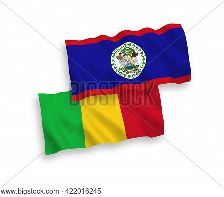 National Fabric Wave Flags Of Belize And Mali Isolated On White Background. 1 To 2 Proportion.